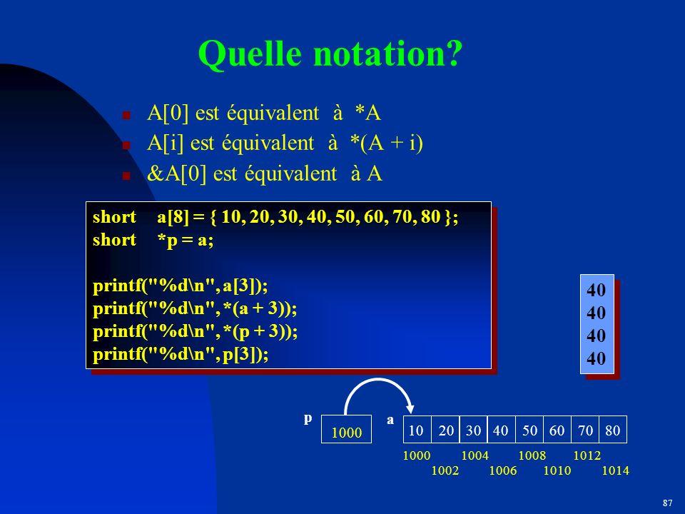 Quelle notation A[0] est équivalent à *A